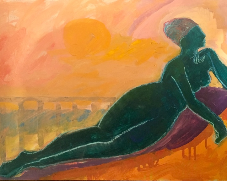 Capezzera_standing woman in red_24 x 18_acrylic on board