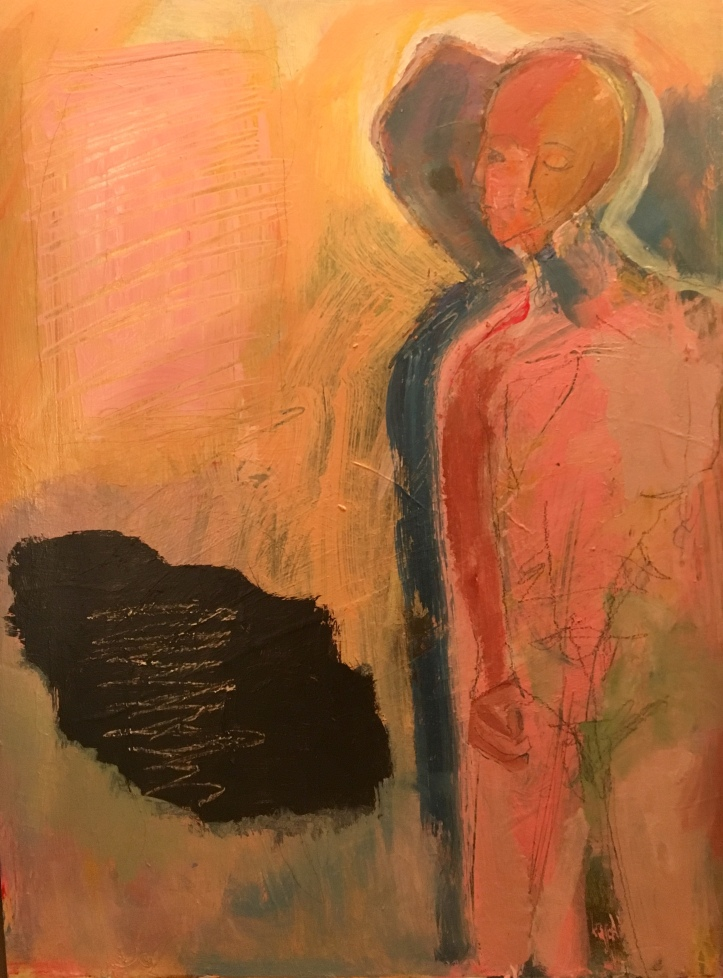 Cappezzera_woman with red aura and blue shadow_24x28_acrylic on board