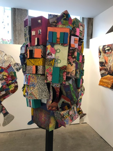 FRAZIER and Teen Bridge Artists_Community Totem Monument_84x26x26_mixed media collage